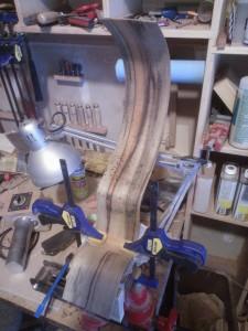 Cutaway being glued