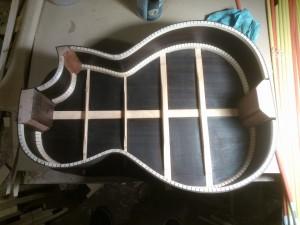 1 coat of oil finish on the inside
